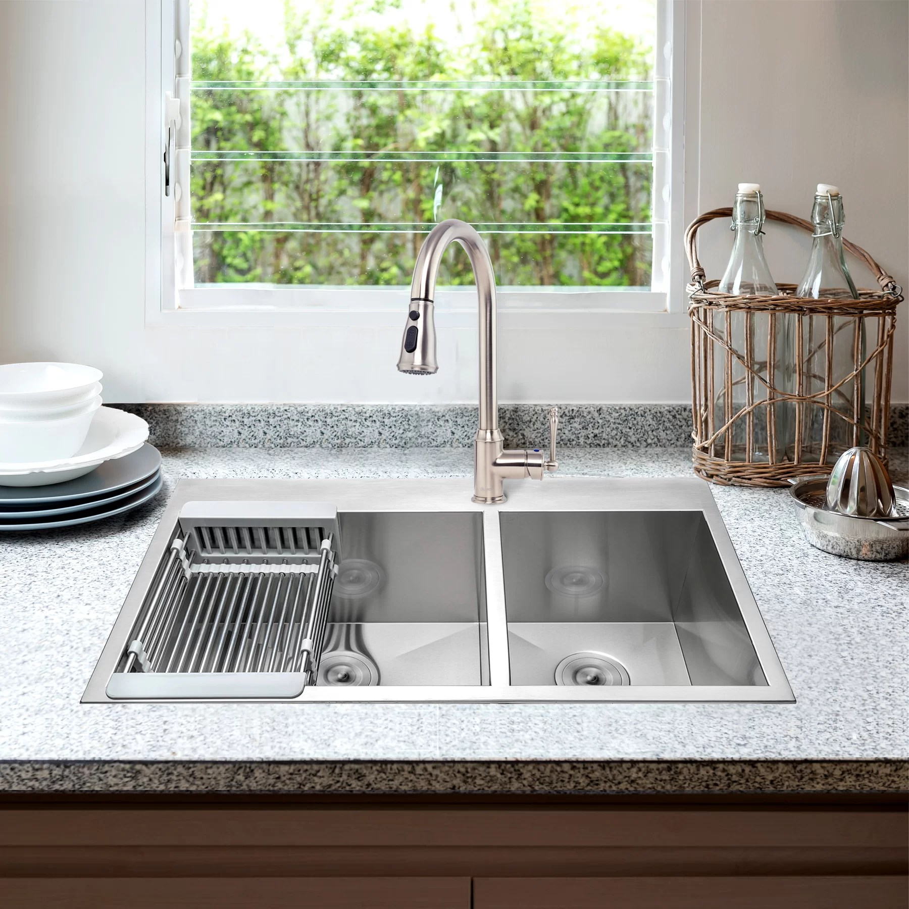 33 l x 22 w dual basin drop in kitchen sink with faucet
