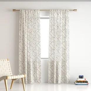 embroidered linen geometric sheer rod pocket single curtain panel