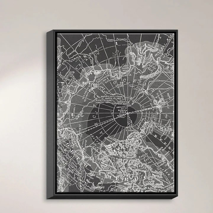 Arctic Dark Gray Map by Catherine Holcombe Graphic Art on Wrapped Framed Canvas Size: 41.75 H x 31.75 W x 1.75 D Frame Color: Black