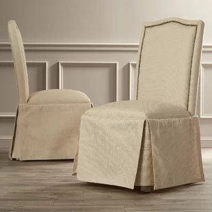 parson chairs comfort lift chair parsons with skirt wayfair alison skirted upholstered set of 2