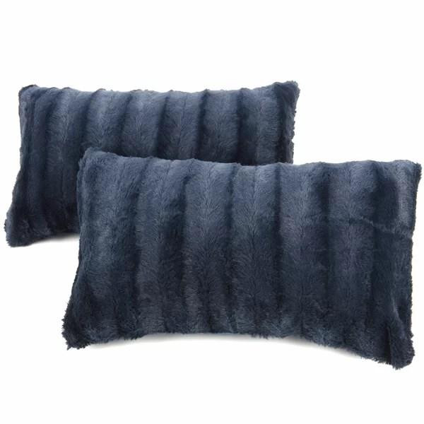 royal blue fur pillows