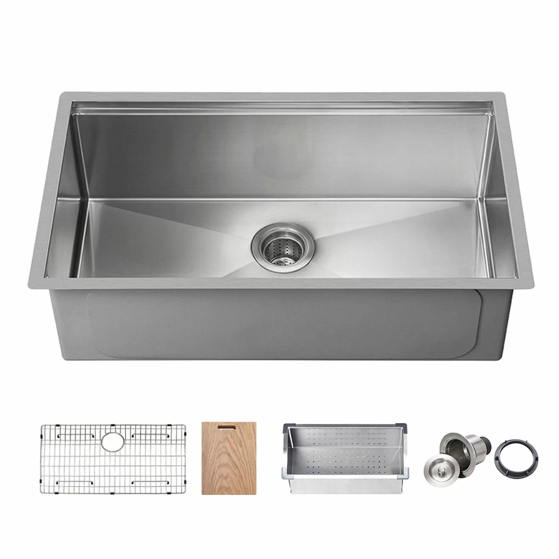 handcrafted stainless steel 33 l x 19 w undermount kitchen sink
