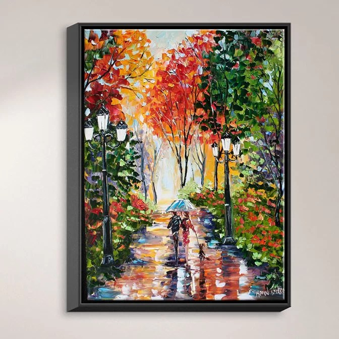 Walking the Dog by Karen Tarlton Painting Print on Wrapped Framed Canvas Size: 21.75 H x 17.75 W x 1.75 D Frame Color: Black