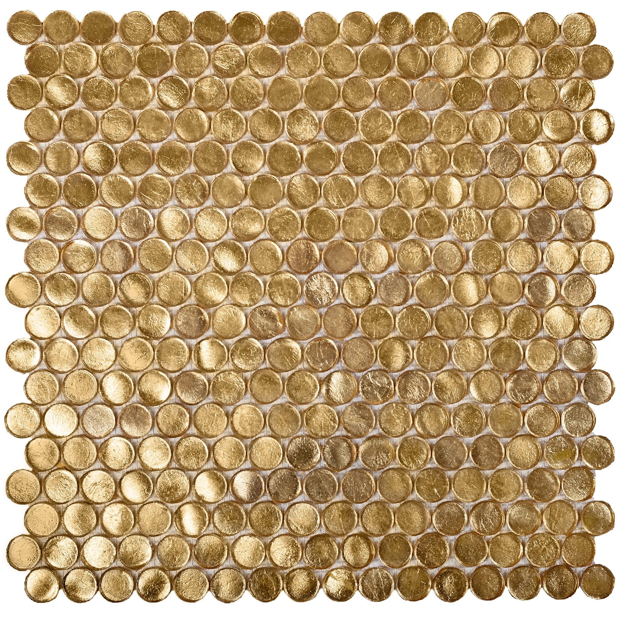 apollo tile gold glass penny round mosaic tile 12 2 x 12 2 sheet for kitchen bathroom or wall panel 10 pack