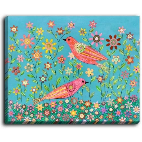 Bohemian Birds by Sascalia Painting Print on Wrapped Canvas Size: 16 H x 20 W x 1.5 D