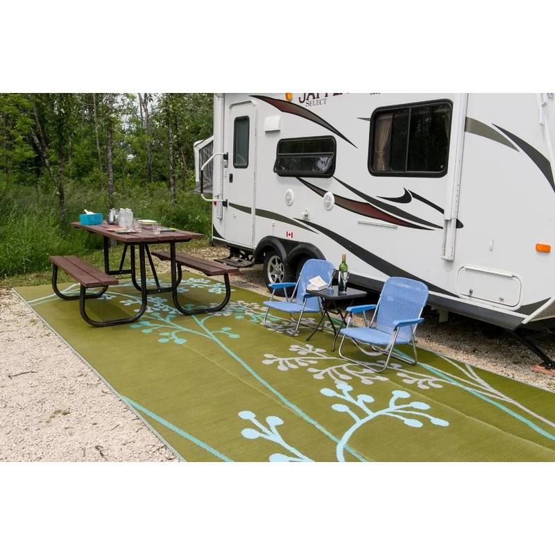 fernando reversible rv camping patio mat in blue green indoor outdoor area rug