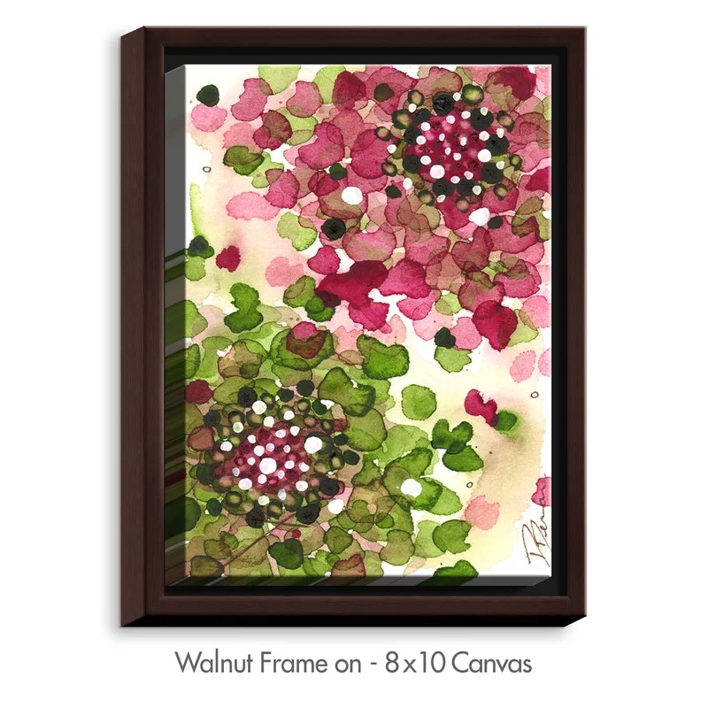 Hydrangea by Dawn Derman Painting Print on Wrapped Framed Canvas Size: 21.75 H x 17.75 W x 1.75 D Frame Color: Walnut