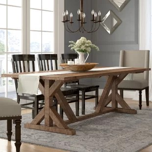 wooden kitchen table space saver and chairs rustic farmhouse tables you ll love wayfair abbey solid wood dining