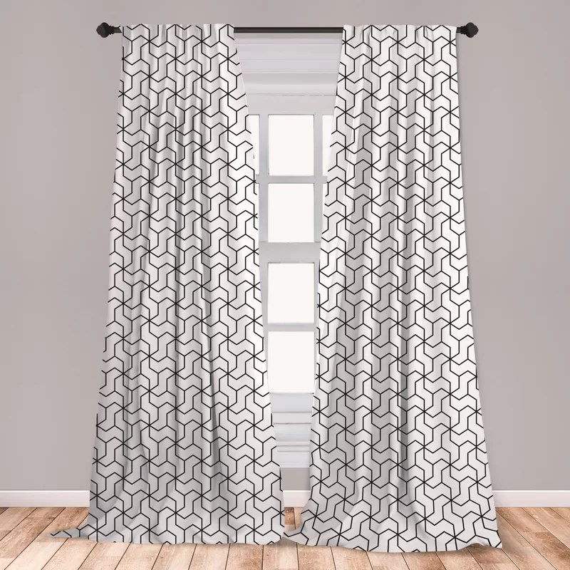 ambesonne black and white window curtains geometric arrangement with monochrome design lines and optical illusion lightweight decorative panels set