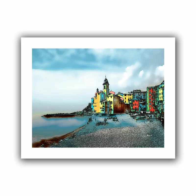 Camogli Italy Beachside Signed by Linda Parker Graphic Art on Rolled Canvas Size: 28 H x 22 W