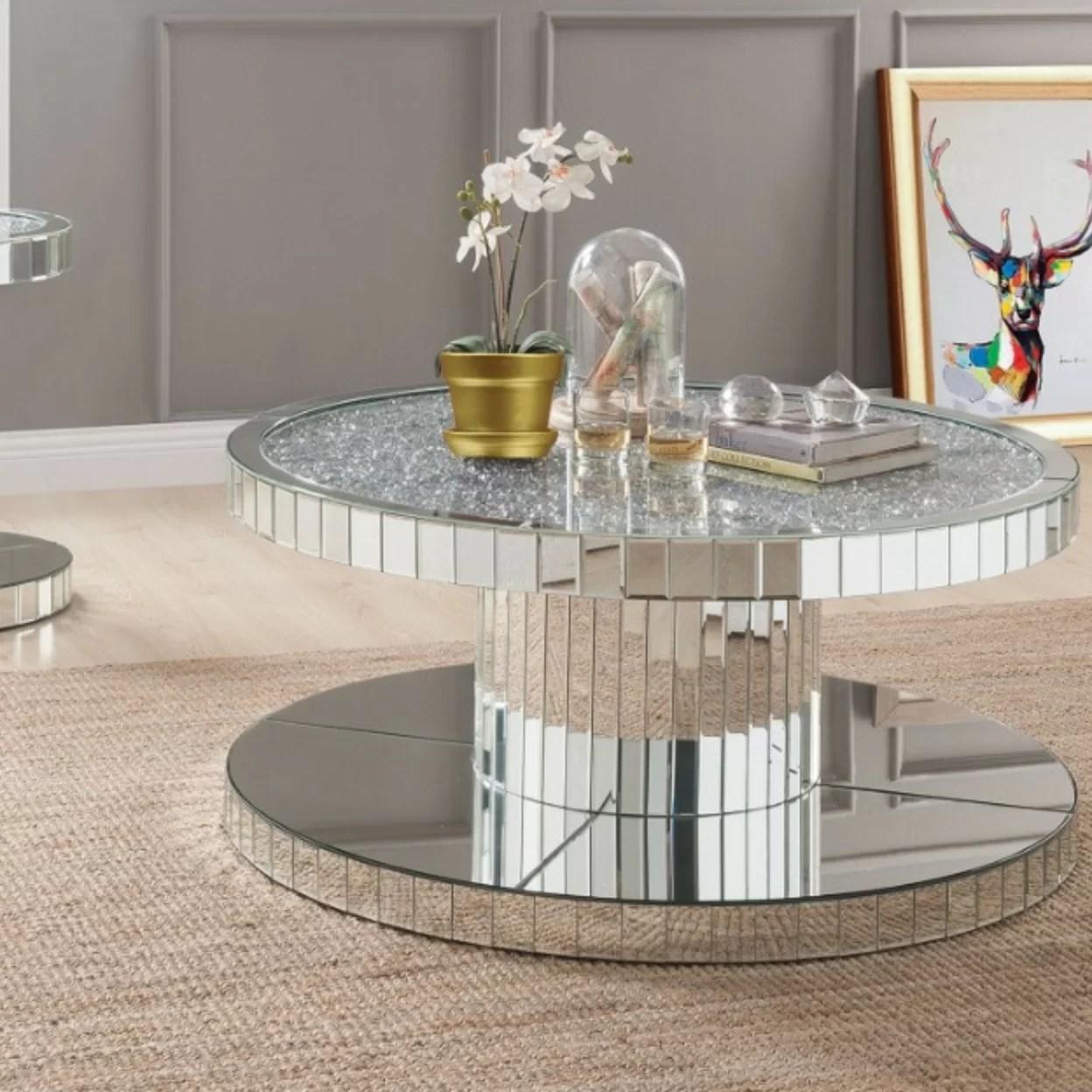 shay modern round mirror coffee table
