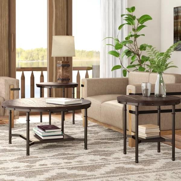 loon peak croley 3 piece coffee table set & reviews | wayfair