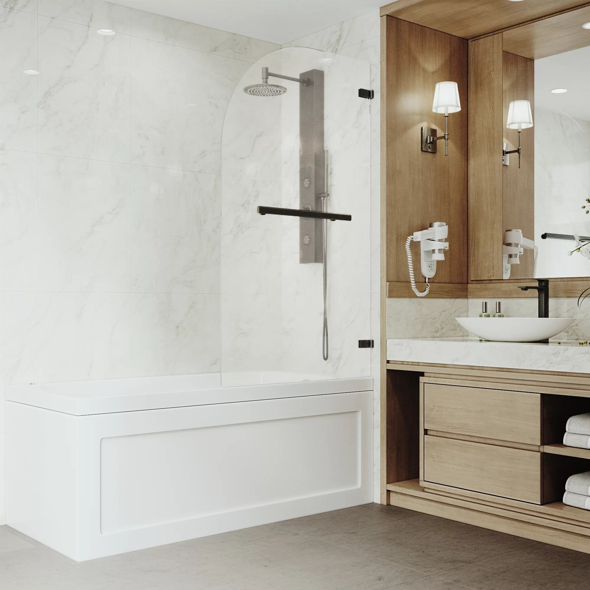 Orion 34 X 58 Hinged Frameless Tub Door With Flex Sizing Technology