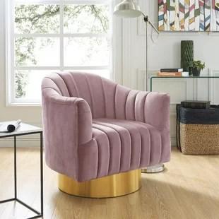 pink swivel chair best gaming office hot chairs wayfair bekah barrel