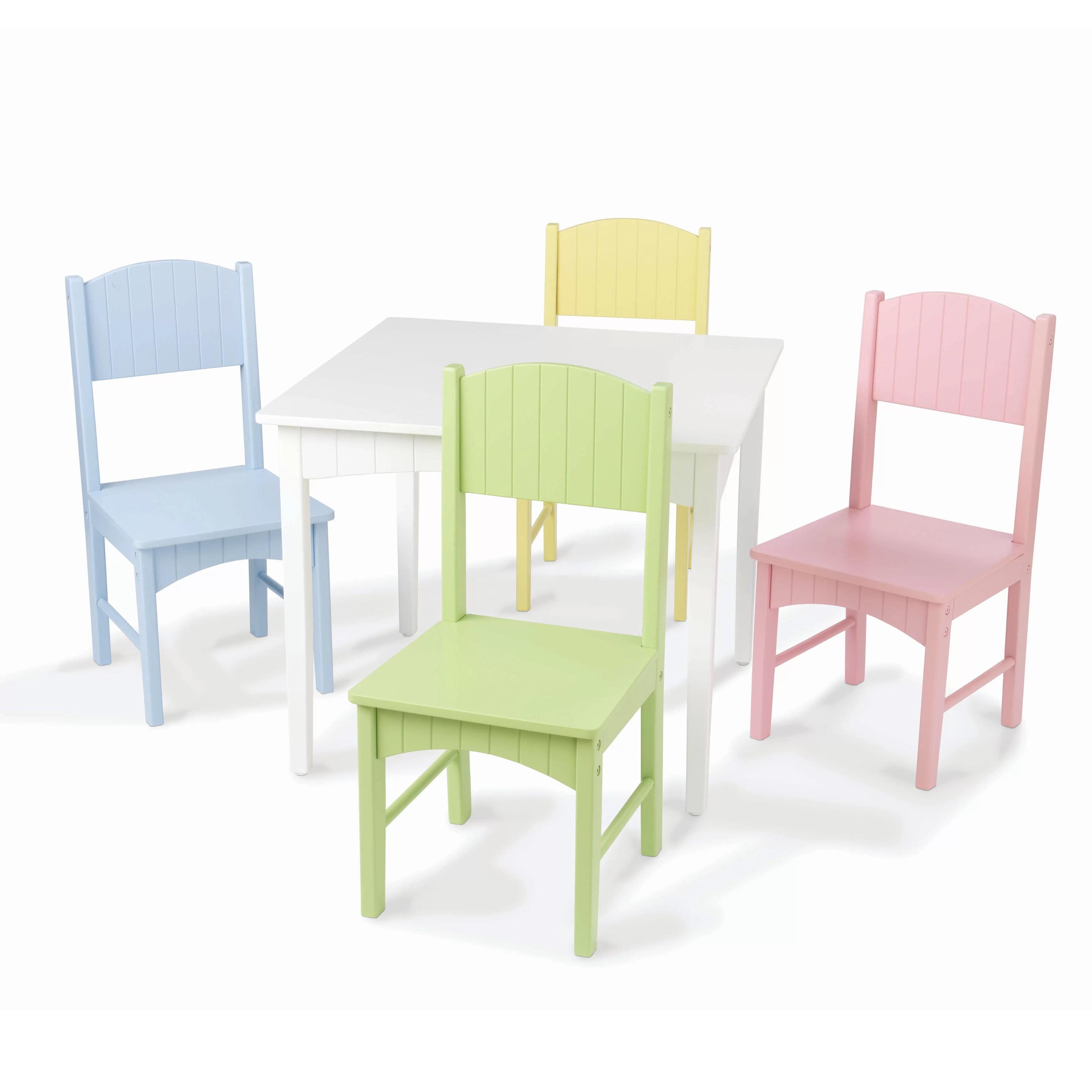 table chair set bungee blue kidkraft nantucket kids 5 piece writing reviews wayfair