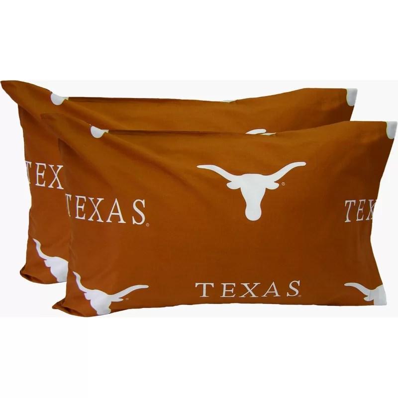 Collegiate NCAA Texas Longhorns Pillowcase Size: King
