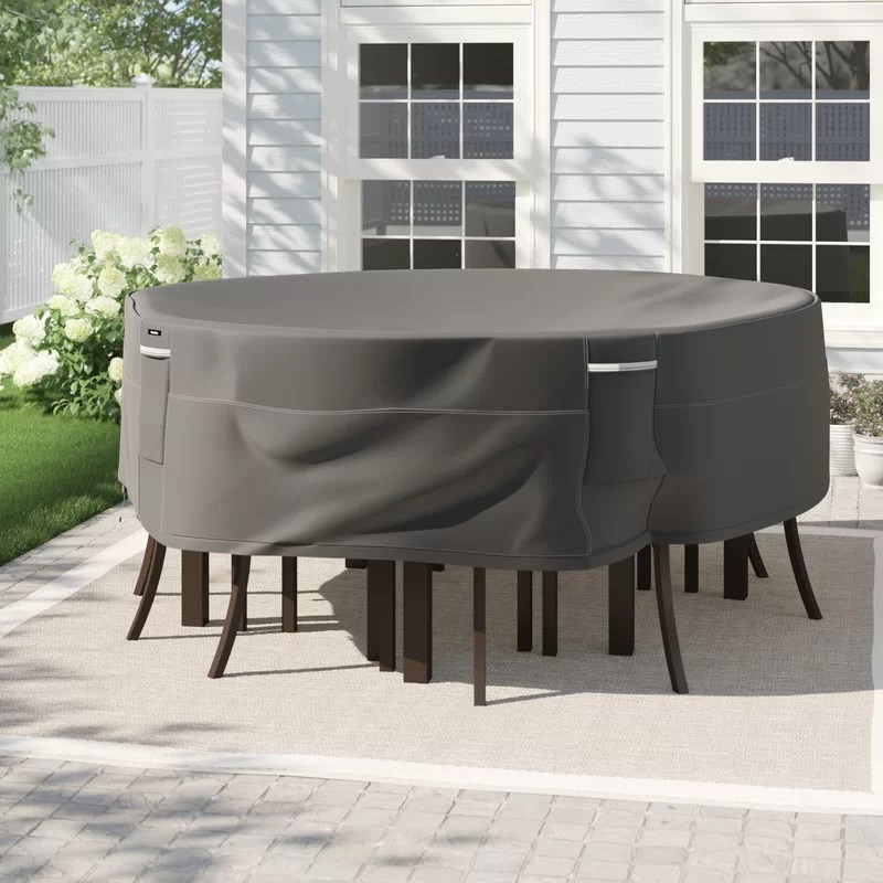 round water resistant patio dining set cover