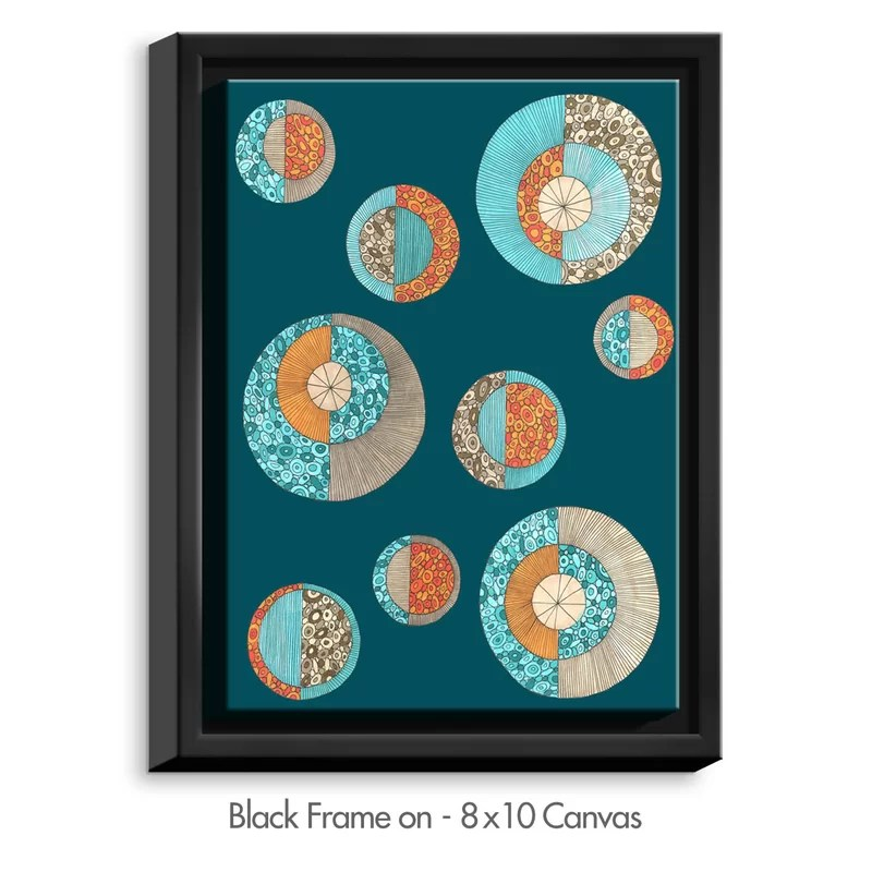 Circles MCM II by Valerie Lorimer Graphic Art on Wrapped Framed Canvas Size: 15.75 H x 12.75 W x 1.75 D Frame Color: Black