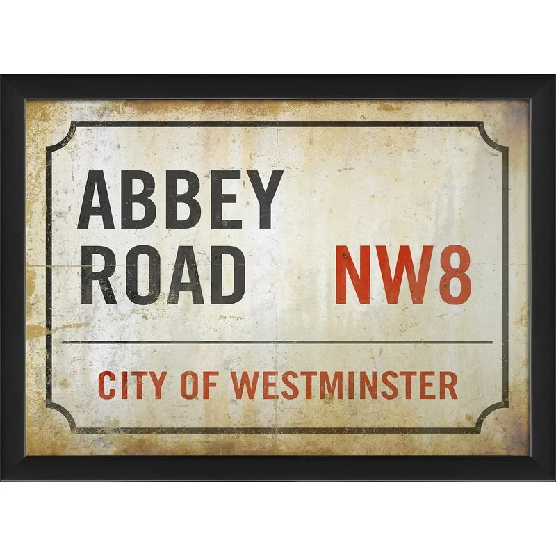 Abbey Road London Street Sign Framed Textual Art
