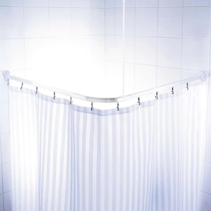 kershaw 160cm adjustable l shaped fixed shower curtain rail ring set