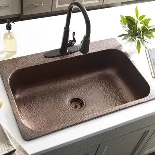 copper kitchen sinks sink covers drop in you ll love wayfair quickview
