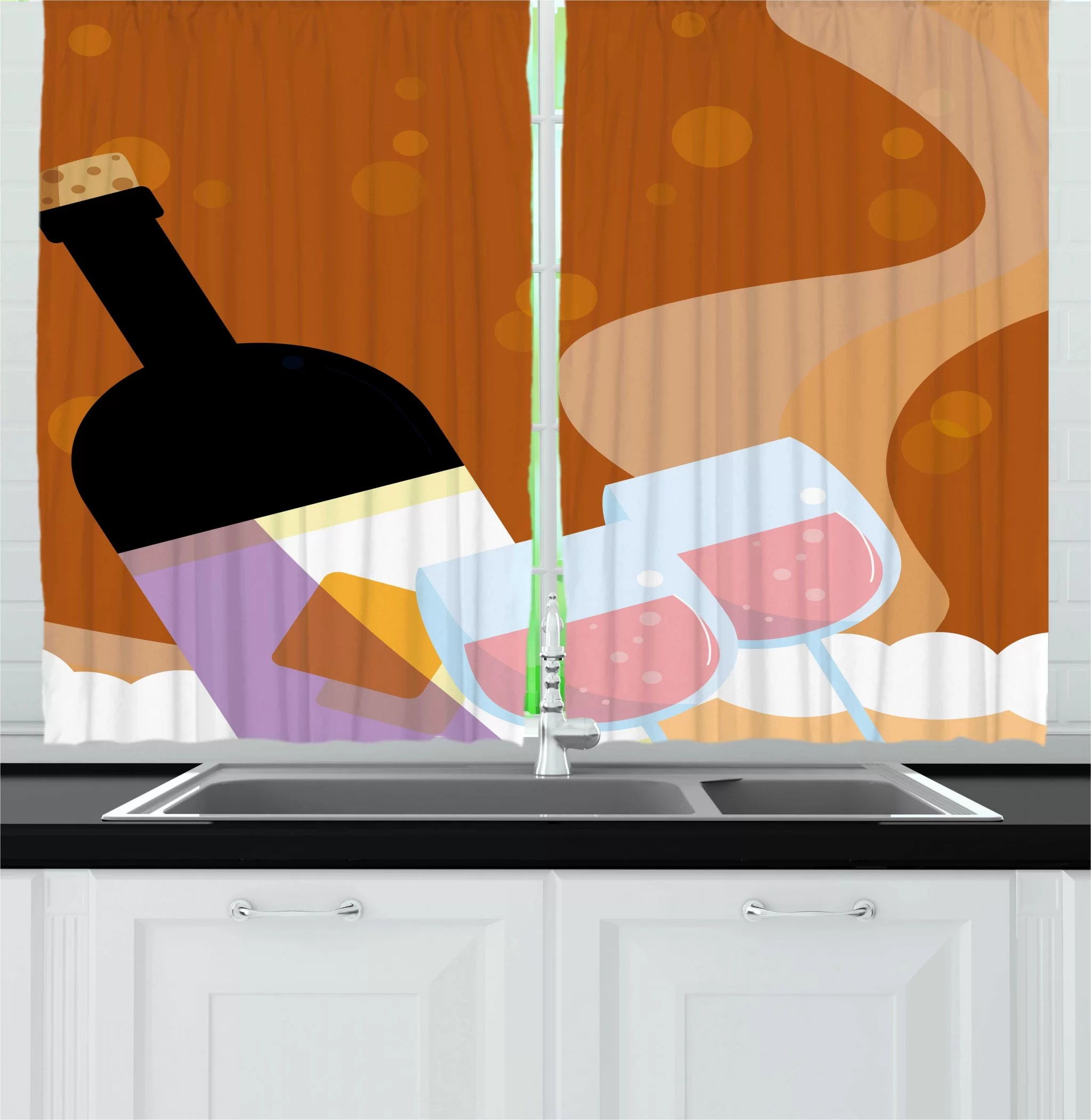 East Urban Home 2 Piece Merlot Rose Wine Bottle Glasses Bubbles Background Cartoon Kitchen Curtains Set Wayfair