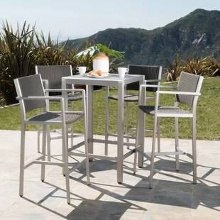 outdoor bar table and chairs tub chair covers for sale height bistro set wayfair durbin 5 piece dining