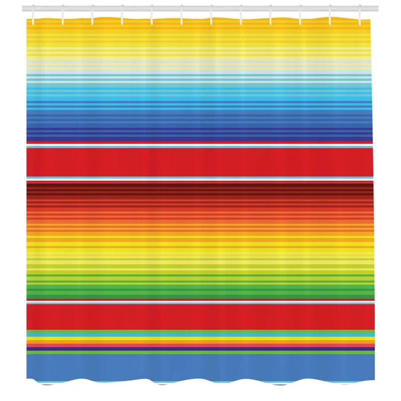 mexican horizontal colored ethnic blanket rug lines pattern bright decorative design shower curtain set