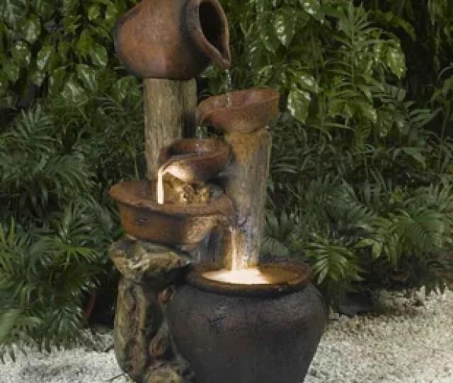 Resin Fiberglass Pentole Pot Fountain With Light