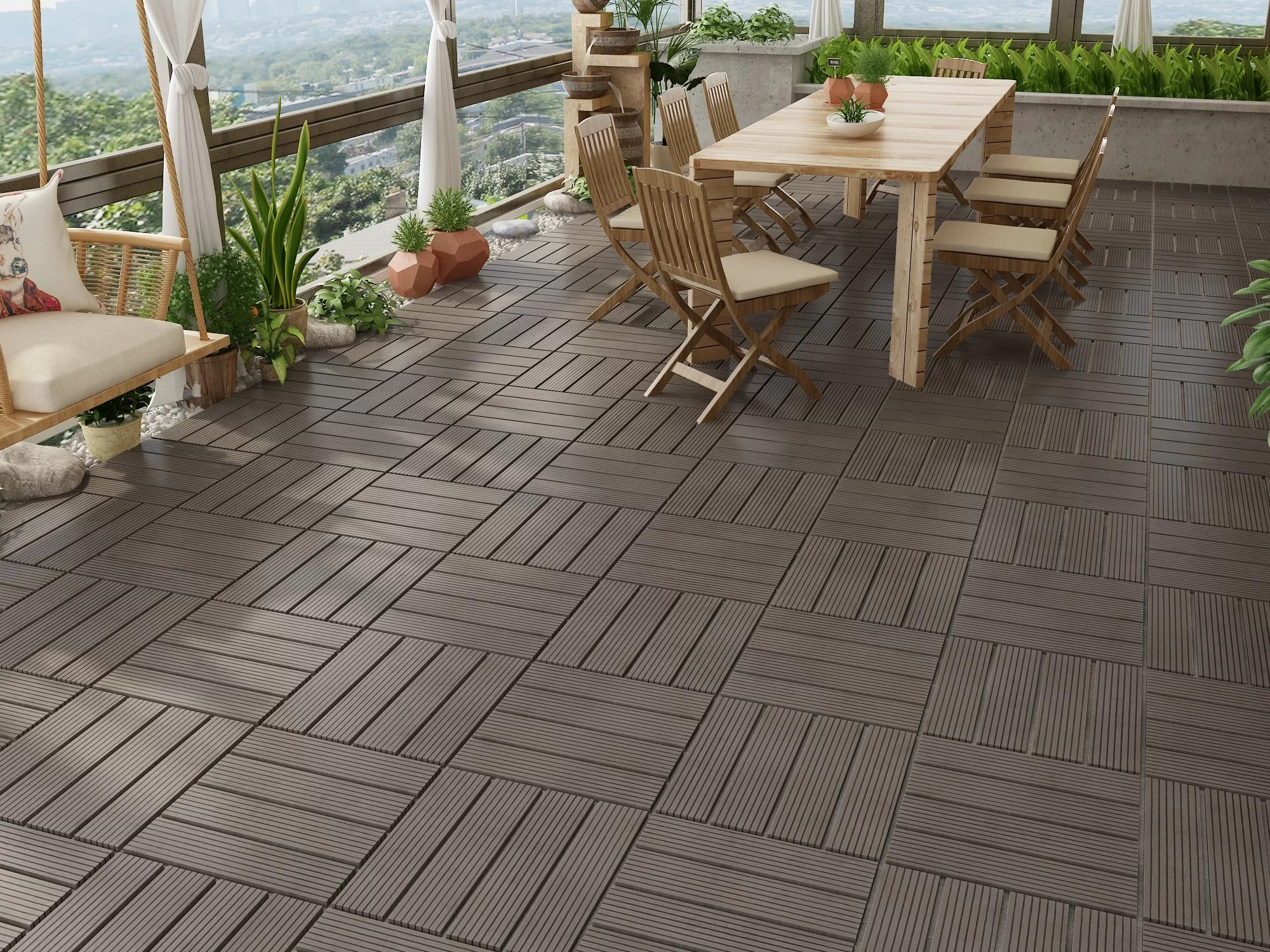 naturesort bamboo 12 x12 bamboo composite interlocking deck tile in dark wood