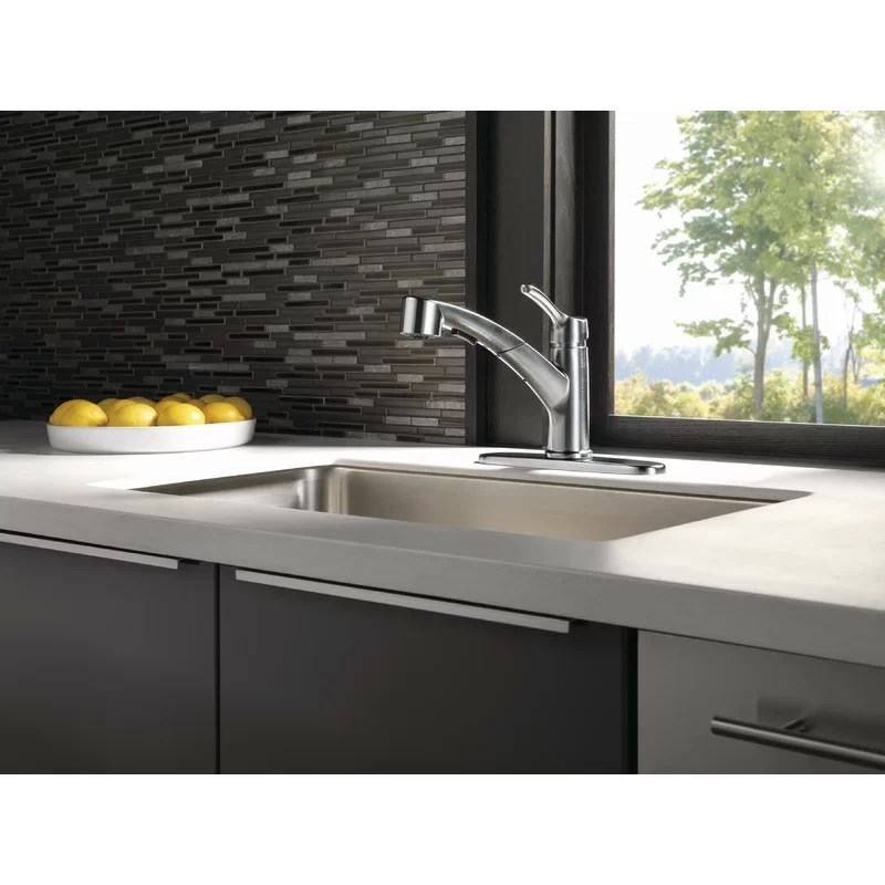 collins single handle pull out kitchen faucet with diamond seal technology