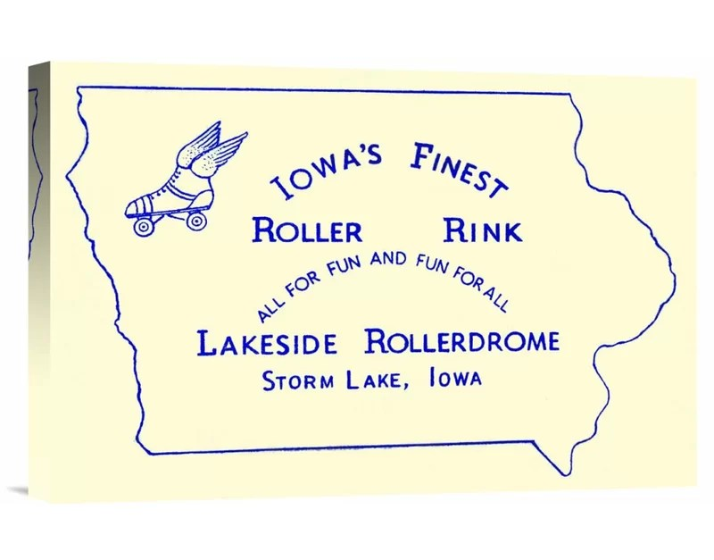 Iowas Finest Roller Rink by RetroRollers Vintage Advertisement on Wrapped Canvas