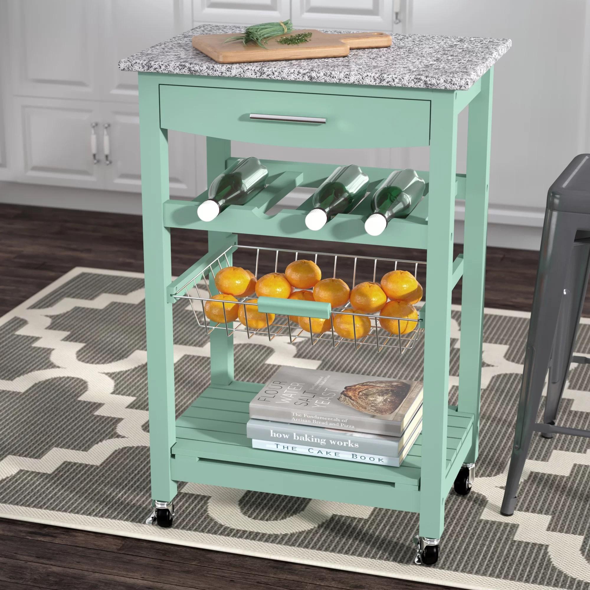 granite top kitchen cart portable island target winston porter macy with reviews wayfair