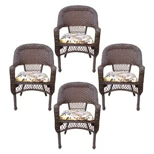 white resin wicker chairs top for pc gaming furniture wayfair belwood patio dining chair with floral cushion set of 4
