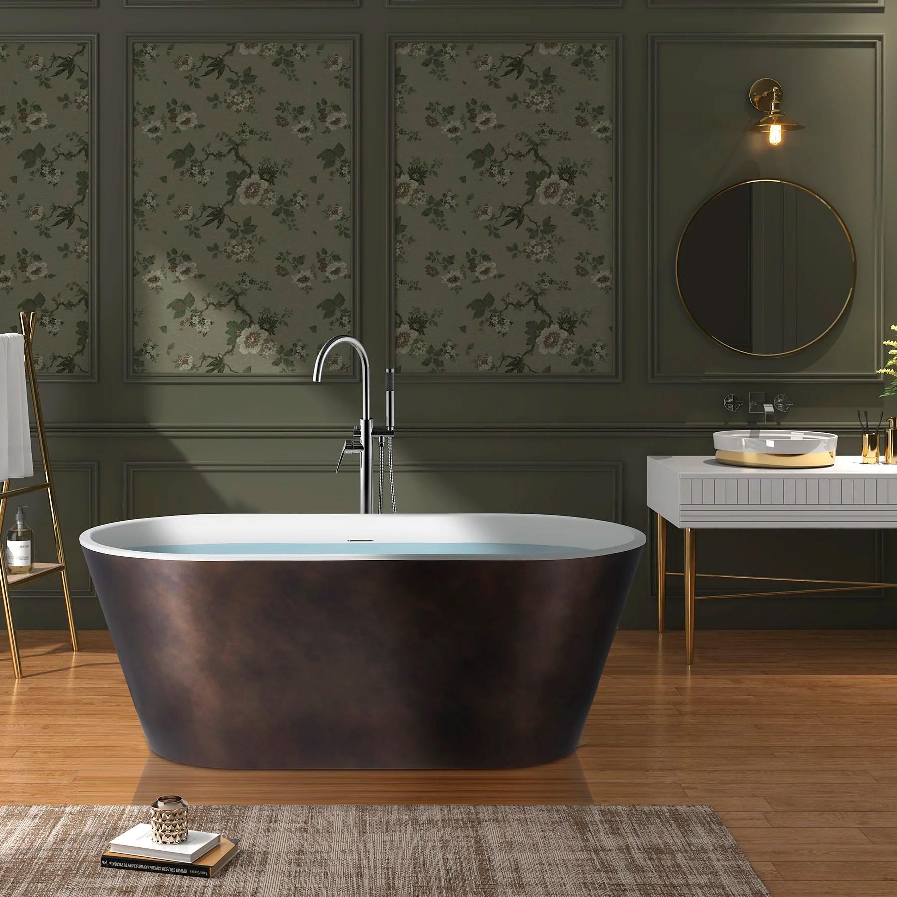 Akdy Freestanding Bathtub 67 Inch Matt Antique Brass Acrylic Bathtub Modern Stand Alone Tub Wayfair Ca