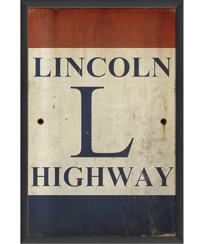 Sign Lincoln Highway Framed Textual Art