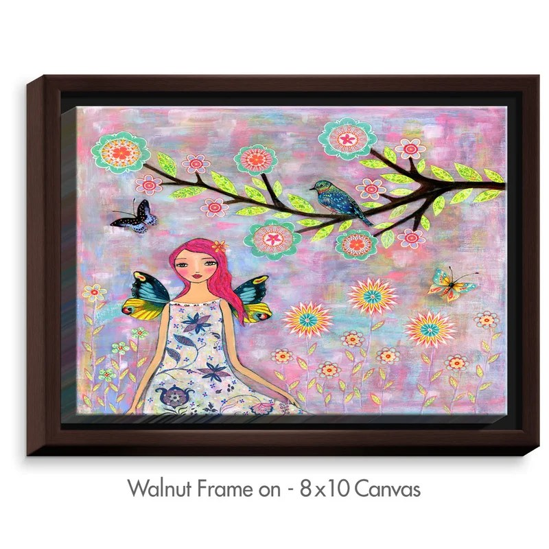 Butterfly Fairy by Sascalia Painting Print on Wrapped Framed Canvas Size: 25.75 H x 37.75 W x 1.75 D Frame Color: Walnut