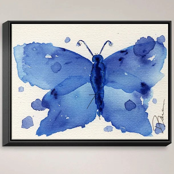 Moth II by Dawn Derman Painting Print on Wrapped Framed Canvas Size: 12.75 H x 15.75 W x 1.75 D Frame Color: Black