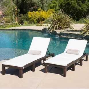 lounge chair patio fold up lawn chairs reclining chaise you ll love wayfair emelda with cushion set of 2