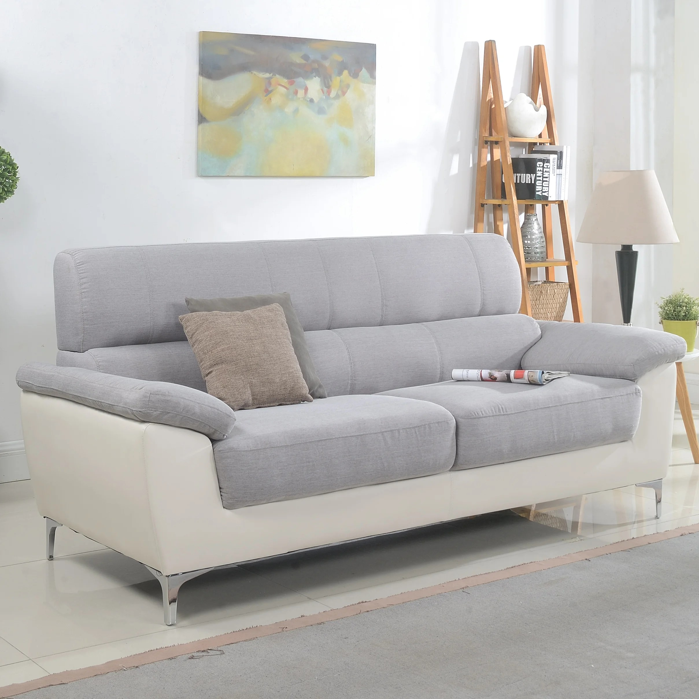 living room furniture leather and upholstery of america collections madison home usa modern two tone fabric bonded sofa reviews wayfair ca