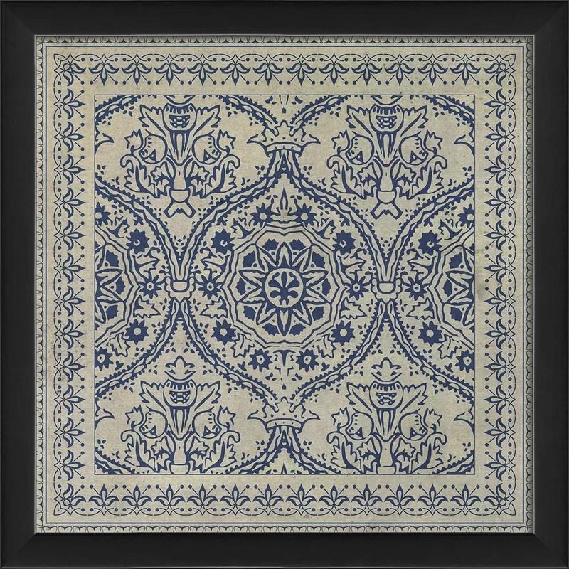 Tile 9 Framed Graphic Art Color: Blue