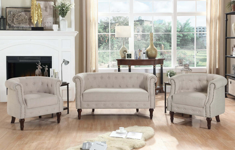 kelty 3 piece standard living room set
