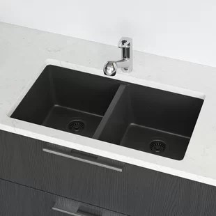 kitchen sink 33x19 franke faucet engineered stone 33 x 19 double basin undermount with hardware by rene elkay