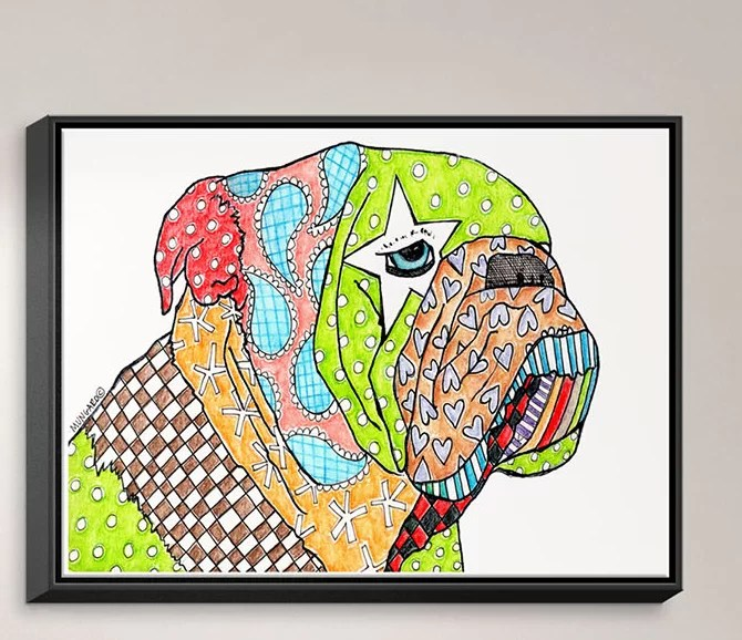 English Bulldog by Marley Ungaro Painting Print on Wrapped Framed Canvas Size: 31.75 H x 41.75 W x 1.75 D Frame Color: Black