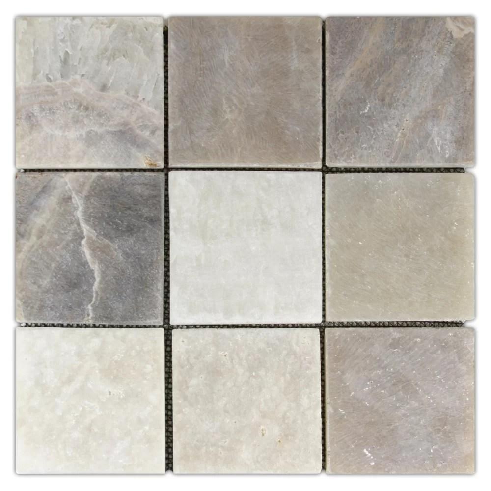 rhine 4 x 4 natural stone mosaic tile in mixed quartz