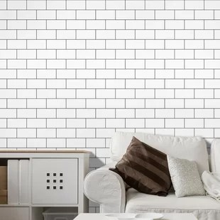 stick on backsplash tiles for kitchen runner mat find the perfect peel and tile wayfair 12 x subway in white