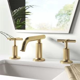 gold widespread bathroom sink faucets