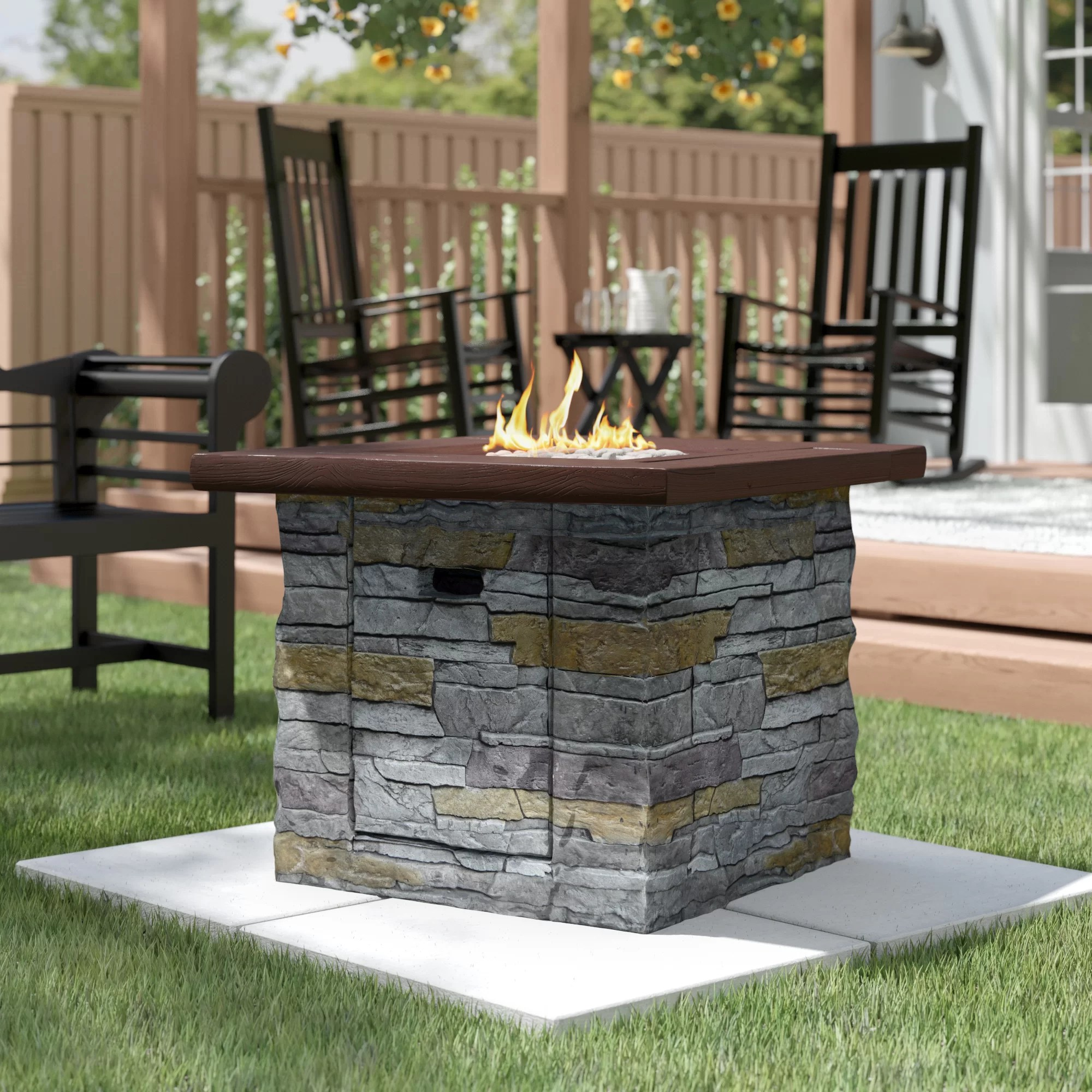davey 24 h x 30 w stone propane outdoor fire pit table