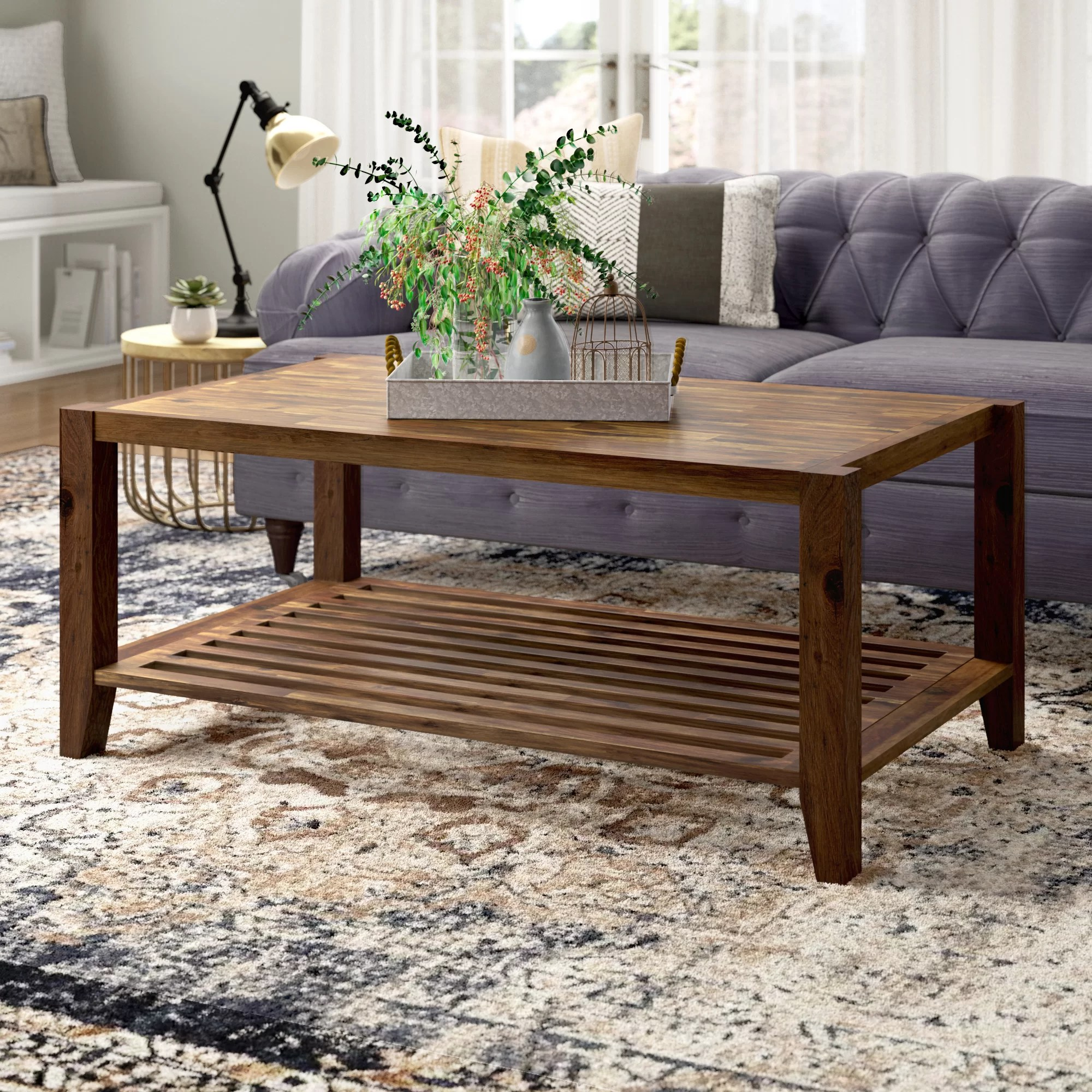 athena solid wood coffee table with storage