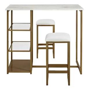 bar height tables and chairs chicco travel high chair modern pub allmodern denham 3 piece table set